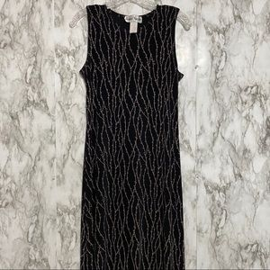 Vintage long black dress  khaki color vine design